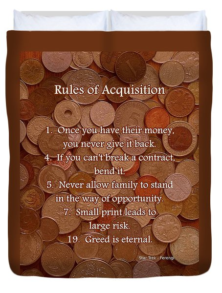 Rules of Acquisition - Part 1 Duvet Cover by Anastasiya Malakhova