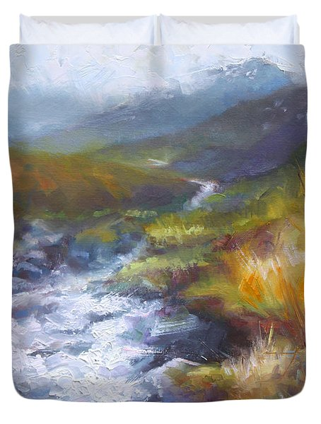 Running Down - Landscape View From Hatcher Pass Duvet Cover by Talya Johnson