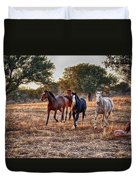 Running Horses Duvet Cover by Kristina Deane