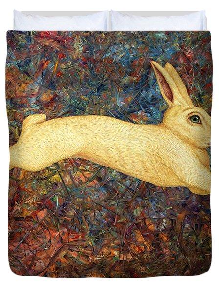 Running Rabbit Duvet Cover by James W Johnson