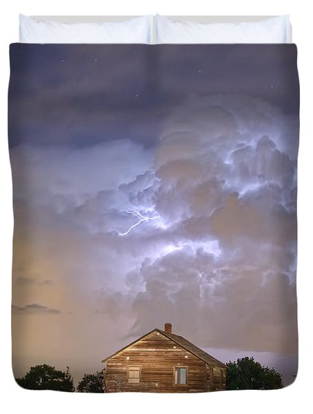 Rural Country Cabin Lightning Storm Duvet Cover by James BO  Insogna