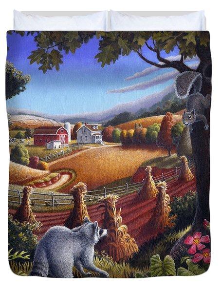Rural Country Farm Life Landscape folk art Raccoon Squirrel Rustic Americana scene  Duvet Cover by Walt Curlee
