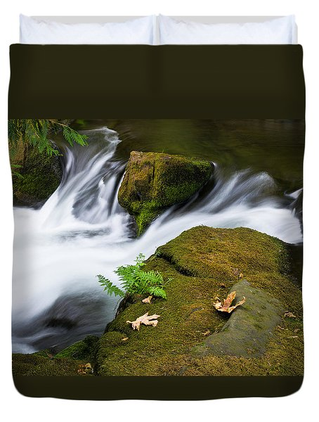 Rushing Water At Whatcom Falls Park Duvet Cover by Priya Ghose