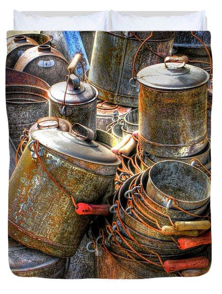 Rust Buckets Duvet Cover by Douglas J Fisher