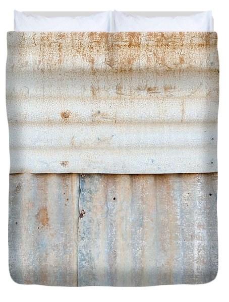 Rusted Metal Background Duvet Cover by Tim Hester