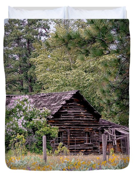Rustic Cabin In The Mountains Duvet Cover by Athena Mckinzie