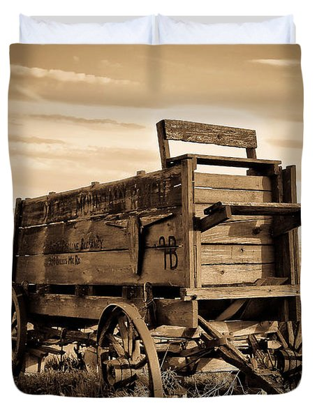 Rustic Covered Wagon Duvet Cover by Athena Mckinzie