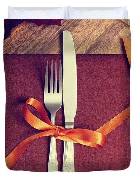 Rustic Table Setting For Autumn Duvet Cover by Amanda And Christopher Elwell