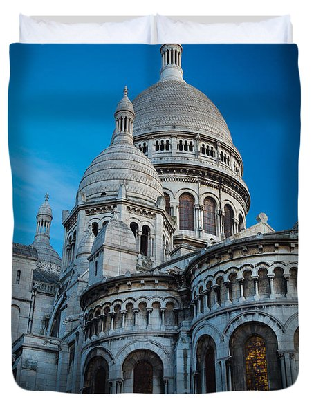 Sacre-coeur At Night Duvet Cover by Inge Johnsson