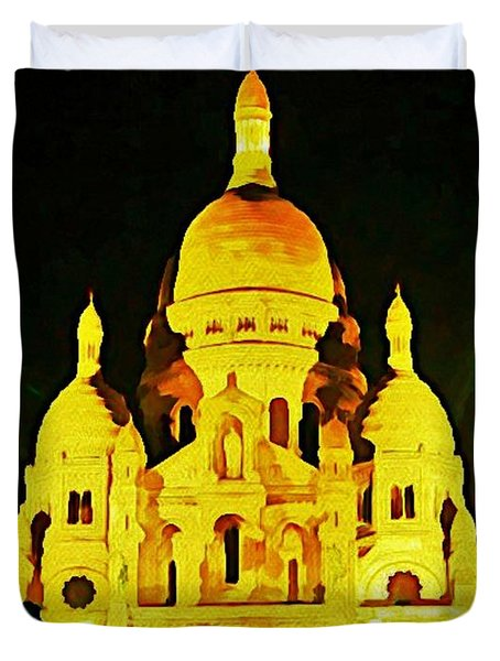 Sacre-coure Cathedral Paris Duvet Cover by John Malone