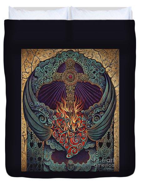 Sacred Heart Duvet Cover by Ricardo Chavez-Mendez