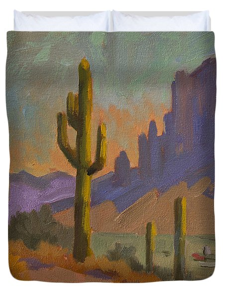 Saguaro Cactus And Apache Junction Duvet Cover by Diane McClary