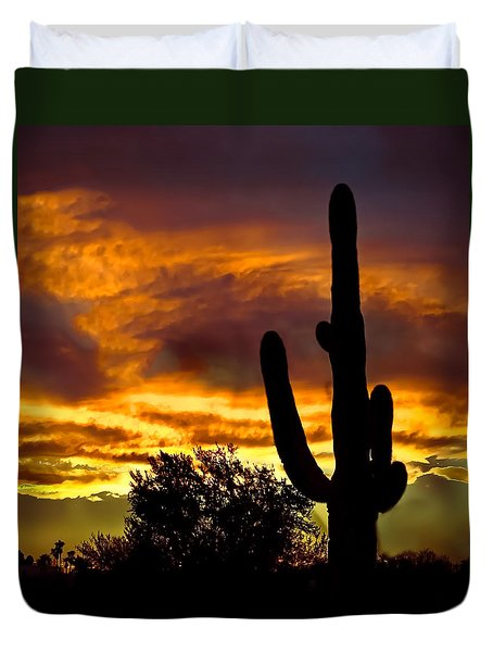 Saguaro Silhouette  Duvet Cover by Robert Bales