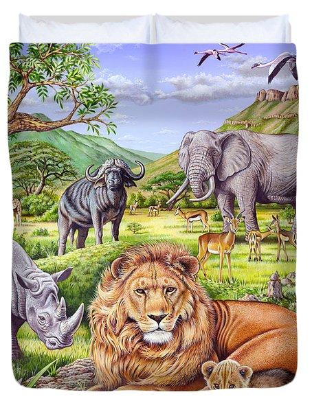 Saharan Animal Gathering Duvet Cover by Mark Gregory