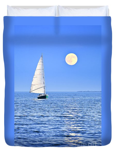 Sailboat At Full Moon Duvet Cover by Elena Elisseeva