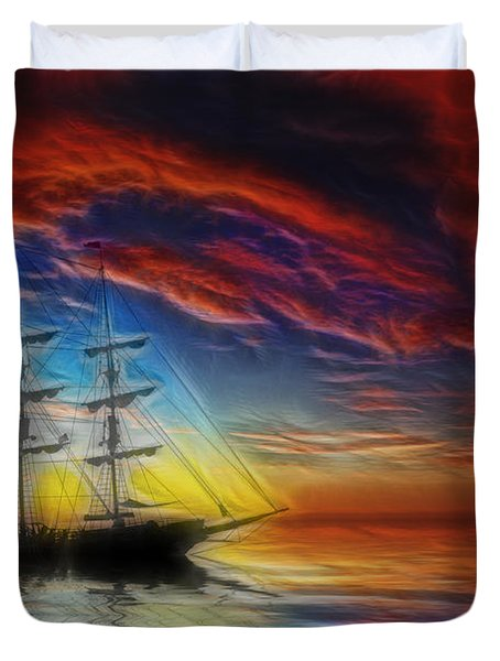 Sailboat Fractal Duvet Cover by Shane Bechler