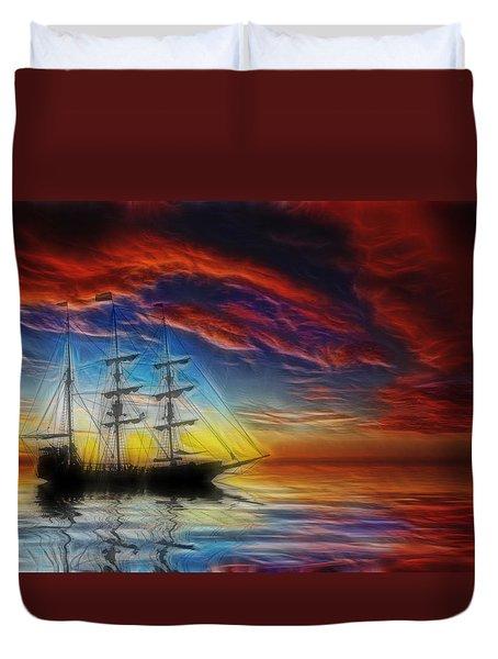 Sailboat Fractal Duvet Cover by Shane Bechler