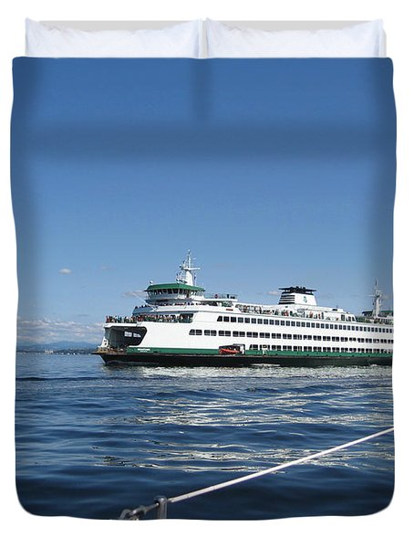 Sailboat Sees Ferryboat Duvet Cover by Kym Backland