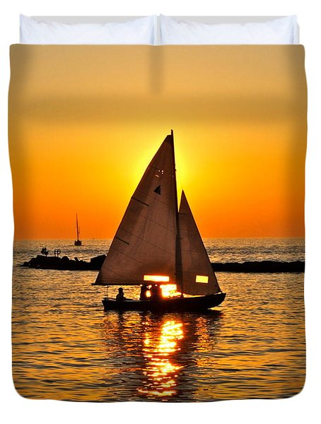 Sailboat Sunset Duvet Cover by Frozen in Time Fine Art Photography