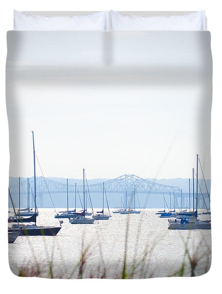 Sailboats At Rest Duvet Cover by Bill Cannon