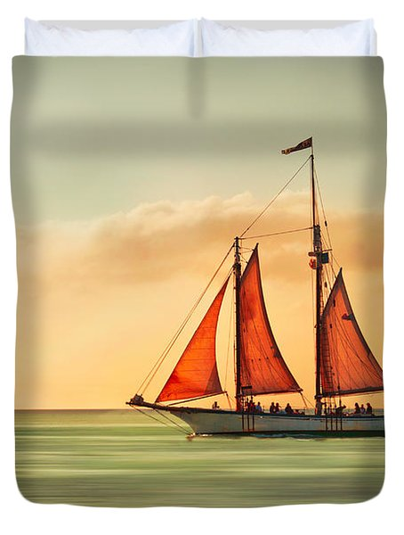 Sailing Into The Sun Duvet Cover by Hannes Cmarits