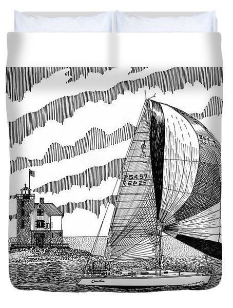 Holland Harbor Lighthouse And Spinaker Flying Sailboat Duvet Cover by Jack Pumphrey