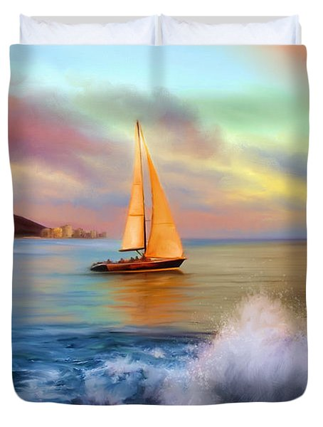 Sailing Past Waikiki Duvet Cover by Dale Jackson