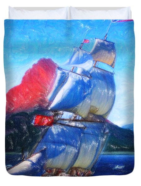 Sailing Towards High Peaks Crayon Duvet Cover by MotionAge Designs