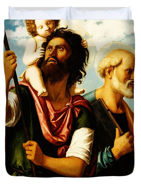 Saint Christopher with Saint Peter Duvet Cover by Digital Reproductions