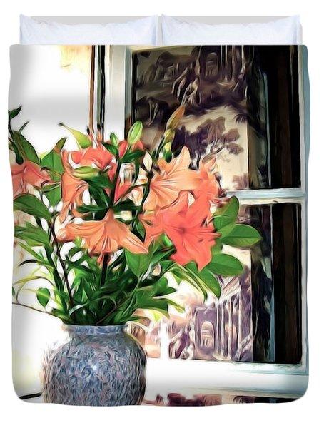 Saint Emilion Window Duvet Cover by Joan  Minchak