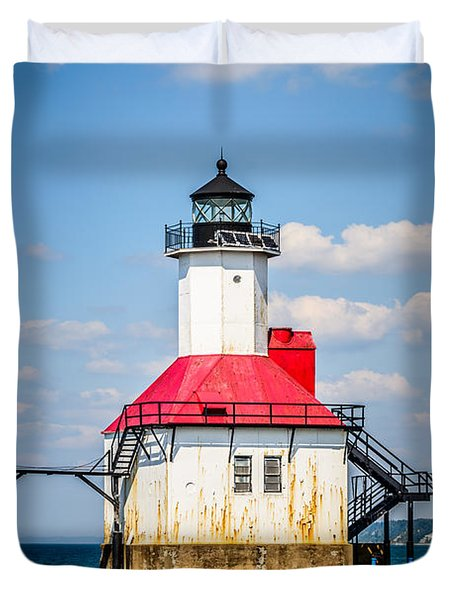 Saint Joseph Lighthouse Picture Duvet Cover by Paul Velgos