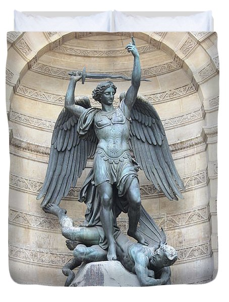 Saint Michael the Archangel in Paris Duvet Cover by Carol Groenen