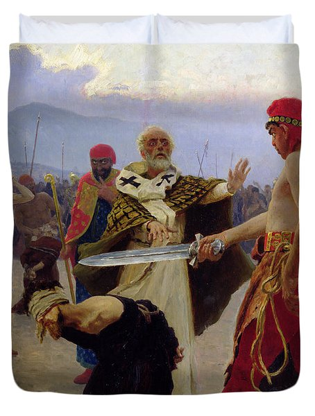 Saint Nicholas Of Myra Saves Three Innocents From Death Duvet Cover by Ilya Efimovich Repin