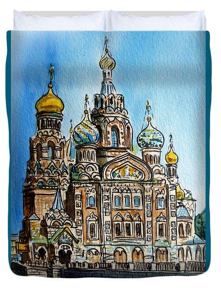 Saint Petersburg Russia The Church of Our Savior on the Spilled Blood Duvet Cover by Irina Sztukowski