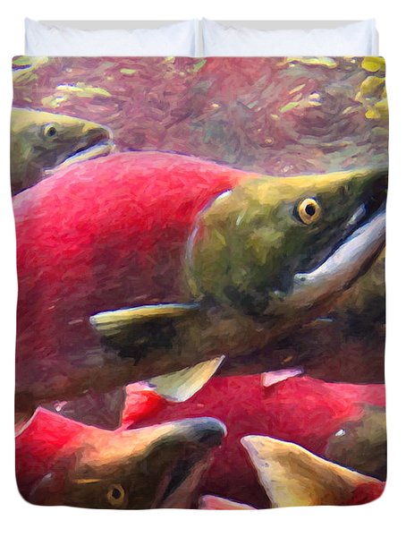 Salmon Run - Painterly Duvet Cover by Wingsdomain Art and Photography