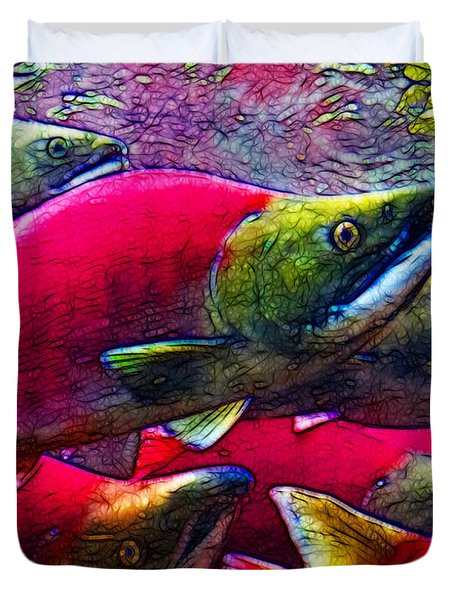 Salmon Run Duvet Cover by Wingsdomain Art and Photography