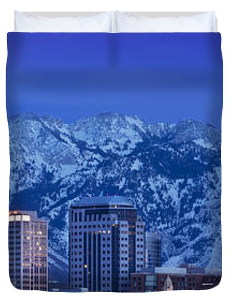 Salt Lake City Skyline Duvet Cover by Brian Jannsen