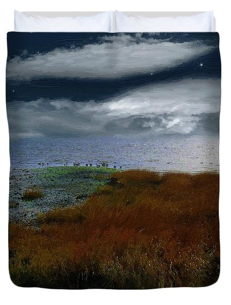 Salt Marsh at the Edge of the Sea Duvet Cover by RC DeWinter