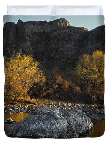 Salt River Fall Foliage Duvet Cover by Dave Dilli