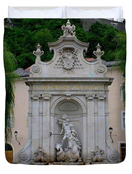 Salzburg Castle with Fountain Duvet Cover by Carol Groenen