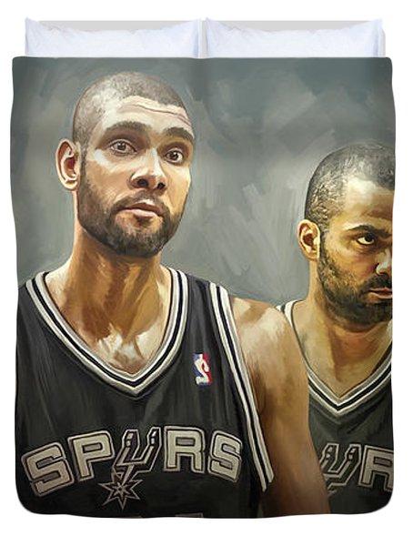 San Antonio Spurs Artwork Duvet Cover by Sheraz A