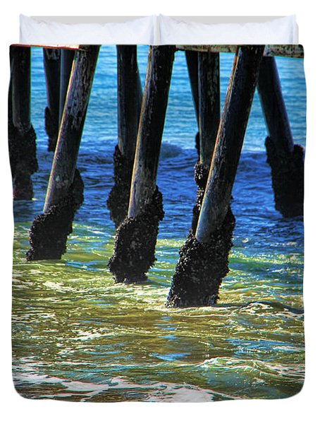 San Clemente Pier Duvet Cover by Mariola Bitner