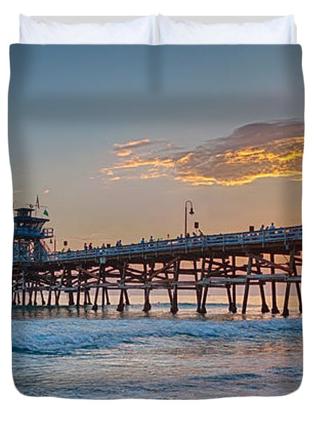 San Clemente Pier Sunset Duvet Cover by Scott Campbell
