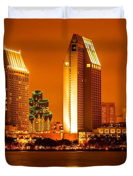 San Diego Skyline At Night Along San Diego Bay Duvet Cover by Paul Velgos