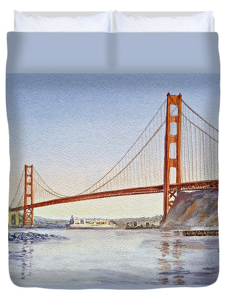 San Francisco California Golden Gate Bridge Duvet Cover by Irina Sztukowski