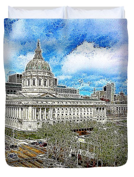 San Francisco City Hall 5D22507 Photoart Duvet Cover by Wingsdomain Art and Photography