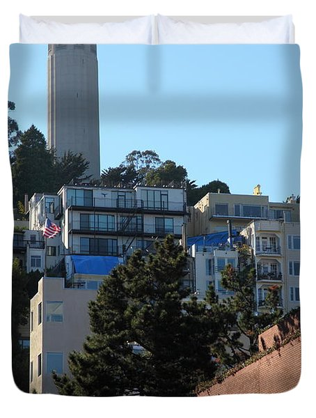San Francisco Coit Tower At Levis Plaza 5D26192 Duvet Cover by Wingsdomain Art and Photography