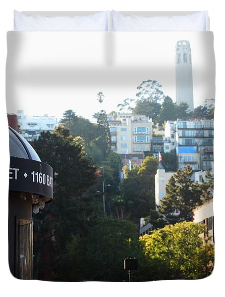 San Francisco Coit Tower At Levis Plaza 5D26212 Duvet Cover by Wingsdomain Art and Photography