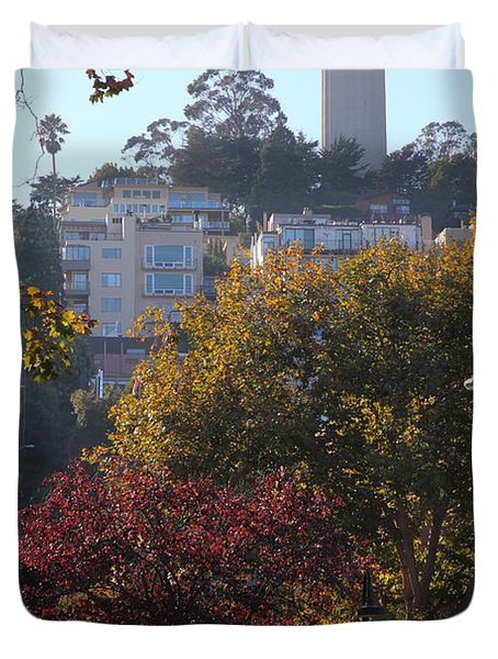 San Francisco Coit Tower At Levis Plaza 5D26216 Duvet Cover by Wingsdomain Art and Photography