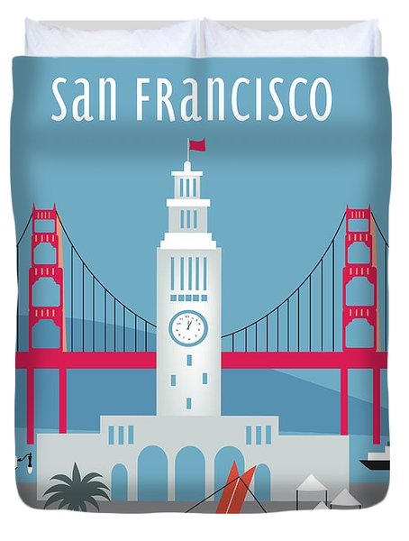 San Francisco Ferry Building Duvet Cover by Karen Young